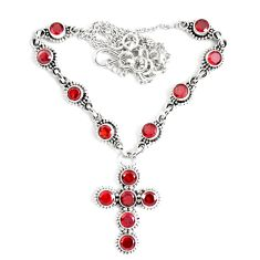 13.73cts natural red garnet 925 sterling silver cross necklace jewelry p48237