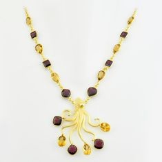 47.26cts natural red garnet citrine 925 sterling silver 14k gold necklace p74959