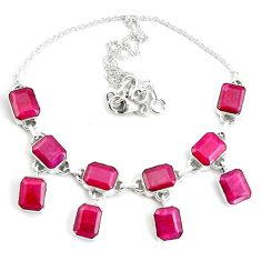 42.41cts natural red ruby 925 sterling silver necklace jewelry p76793
