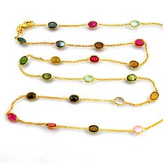 35.26cts natural tourmaline 925 silver 14k gold 35inch chain necklace p91697