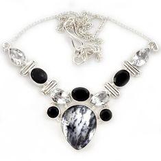Natural white dendrite opal (merlinite) onyx topaz 925 silver necklace j13329