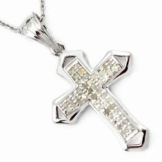 NATURAL WHITE DIAMOND 925 STERLING SILVER HOLY CROSS NECKLACE JEWELRY H6538