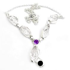 43.45cts natural white herkimer diamond amethyst 925 silver necklace p43481