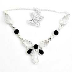 40.69cts natural white herkimer diamond onyx 925 sterling silver necklace p43482