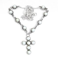 13.92cts natural white pearl 925 sterling silver cross necklace jewelry p48220