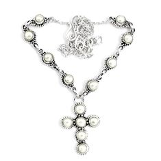 13.92cts natural white pearl 925 sterling silver cross necklace jewelry p48225