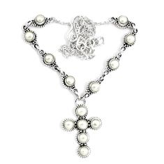 14.12cts natural white pearl 925 sterling silver cross necklace jewelry p48226