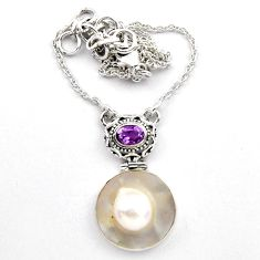 20.84cts natural white pearl amethyst 925 sterling silver necklace p89157