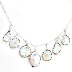 20.33cts natural white pearl fancy 925 sterling silver necklace jewelry p43324