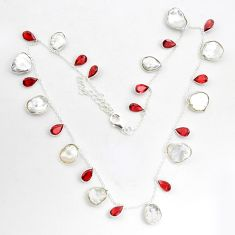 33.26cts natural white pearl garnet 925 sterling silver necklace jewelry p43400