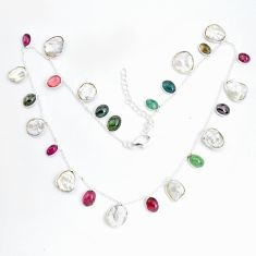 34.48cts natural white pearl multi color tourmaline 925 silver necklace p43407