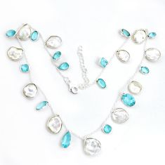 40.19cts natural white pearl topaz 925 sterling silver necklace jewelry p43402