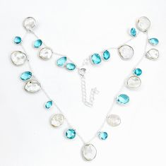 41.38cts natural white pearl topaz 925 sterling silver necklace jewelry p43404
