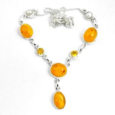 31.07cts natural yellow amber bone citrine 925 sterling silver necklace p69691
