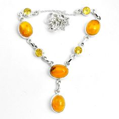 25.34cts natural yellow amber bone citrine 925 sterling silver necklace p69693