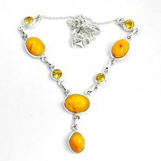 30.40cts natural yellow amber bone citrine 925 sterling silver necklace p69694