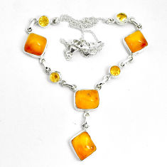 30.31cts natural yellow amber bone citrine 925 sterling silver necklace p69695