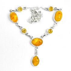 29.66cts natural yellow amber bone citrine 925 sterling silver necklace p69697