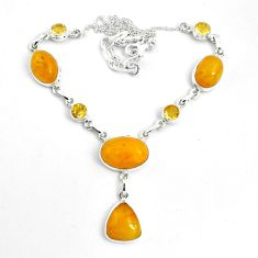 31.84cts natural yellow amber bone citrine 925 sterling silver necklace p69698
