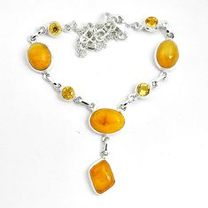 31.07cts natural yellow amber bone citrine 925 sterling silver necklace p69700