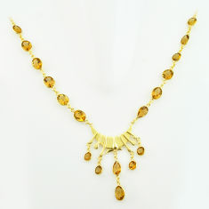 47.76cts natural yellow citrine 925 sterling silver 14k gold necklace p74937