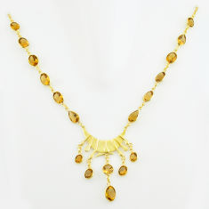 49.39cts natural yellow citrine 925 sterling silver 14k gold necklace p74939