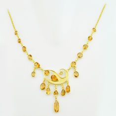 36.09cts natural yellow citrine 925 sterling silver 14k gold necklace p74966