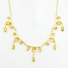 38.47cts natural yellow citrine 925 sterling silver 14k gold necklace p75000