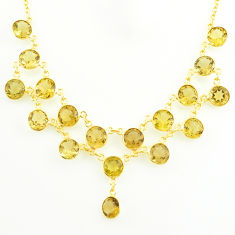48.40cts natural yellow citrine 925 sterling silver 14k gold necklace p75006