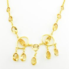 29.66cts natural yellow citrine 925 sterling silver 14k gold necklace p75033
