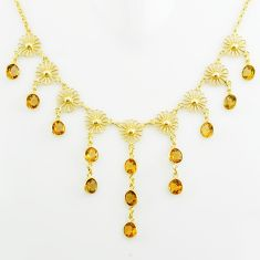 27.05cts natural yellow citrine 925 sterling silver 14k gold necklace p75053