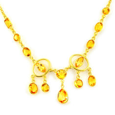 35.15cts natural yellow citrine 925 sterling silver 14k gold necklace p91685