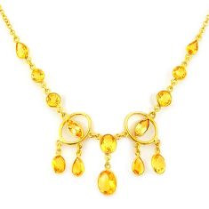 31.72cts natural yellow citrine 925 sterling silver 14k gold necklace p91688