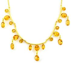 47.29cts natural yellow citrine 925 sterling silver 14k gold necklace p91701