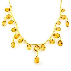 55.13cts natural yellow citrine 925 sterling silver 14k gold necklace p91705