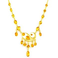 39.73cts natural yellow citrine 925 sterling silver 14k gold necklace p91711