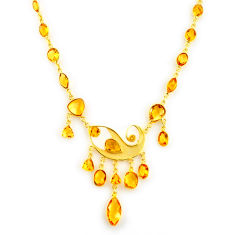 47.20cts natural yellow citrine 925 sterling silver 14k gold necklace p91715
