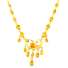38.14cts natural yellow citrine 925 sterling silver 14k gold necklace p91717