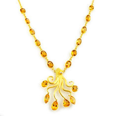 52.89cts natural yellow citrine 925 sterling silver 14k gold necklace p91721