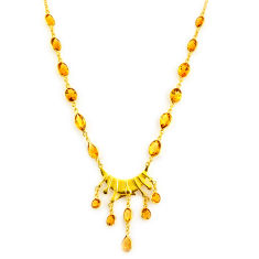 45.60cts natural yellow citrine 925 sterling silver 14k gold necklace p91734