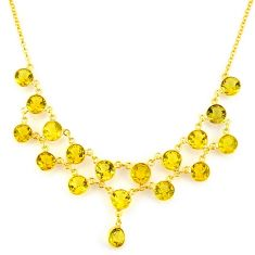 44.49cts natural yellow citrine 925 sterling silver 14k gold necklace p91752