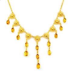 28.60cts natural yellow citrine 925 sterling silver 14k gold necklace p91757