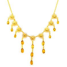 25.67cts natural yellow citrine 925 sterling silver 14k gold necklace p91759