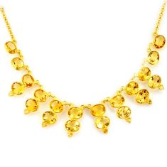 46.08cts natural yellow citrine 925 sterling silver 14k gold necklace p91769
