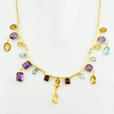 51.72cts natural yellow citrine amethyst topaz silver 14k gold necklace p74987