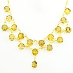 50.90cts natural yellow citrine round sterling silver 14k gold necklace p75009