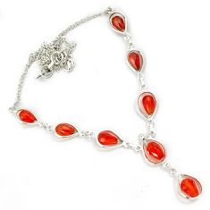 Orange morganite drop shape 925 sterling silver necklace jewelry h70149