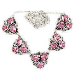 Pink kunzite (lab) oval shape 925 sterling silver necklace jewelry j2369