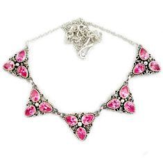 Pink kunzite (lab) pear cut 925 sterling silver necklace jewelry j2346