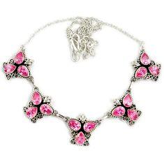 Pink kunzite (lab) pear cut 925 sterling silver necklace jewelry j2348